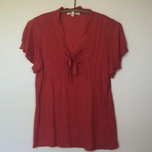 SOFT JOIE Orange Pintuck and Bow Jersey Knit Top S